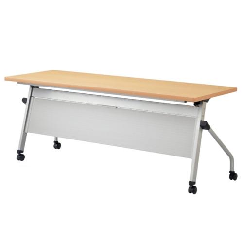 フォールディングテーブル 幅1800mm 奥行600mm 幕板付き キャスター付き 棚付き ミーティングテーブル 折りたたみ パネル付き デスク オフィス HFL-1860P