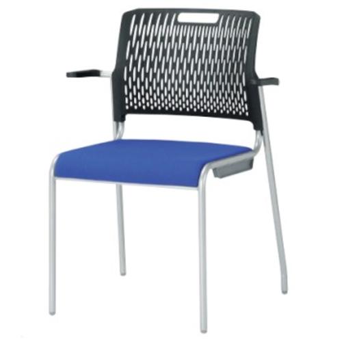 スタッキングチェア 肘付き キャスターなし 背ブラック ミーティングチェア 会議イス オフィス チェア 椅子 イス 積み重ね シンプル デスクチェア KC-1672