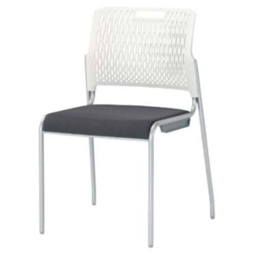 スタッキングチェア 肘なし キャスターなし 背ホワイト ミーティングチェア 会議イス オフィス チェア 積み重ね収納 シンプル 椅子 デスクチェア KC-1673