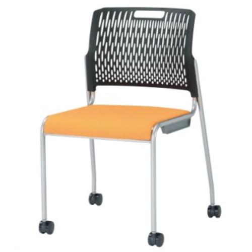 スタッキングチェア 肘なし キャスター付き 背ブラック ミーティングチェア 会議イス オフィス チェア 椅子 会社 シンプル 積み重ね収納 受付 KC-1675
