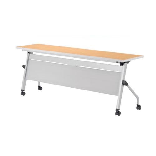 フォールディングテーブル 幅1800mm 奥行450mm 幕板付き キャスター 棚付き ミーティングテーブル オフィステーブル オフィス家具 LCJ-1845P