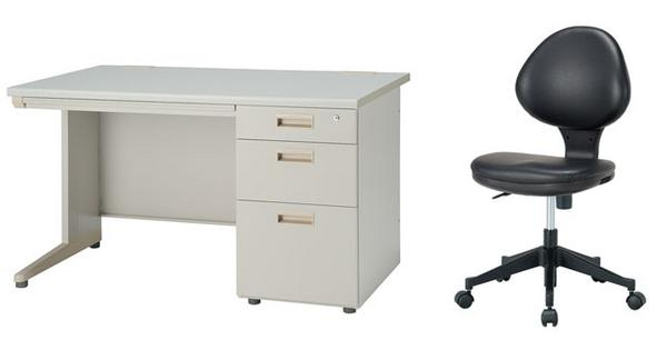 デスク チェアセット 片袖机 W1200mm 幅120cm ワークデスク 事務用 学習机 書斎机 椅子 イス テーブル ニューグレー色 オフィス家具 IDS-127-3SC-1