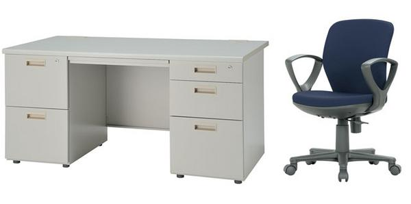 デスク チェアセット 両袖机 W1400mm 幅140cm ワークデスク 事務用 学習机 書斎机 椅子 イス テーブル ニューグレー オフィス家具 IDS-147-2・3SC-5 LOOKIT オフィス家具 インテリア