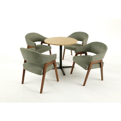 【法人限定】会議セット 4人用 送料無料 直径750mm丸型テーブル テーブルチェアセット ミーティング チェアセット 布張りチェア PUレザー張りチェア ABW-750-SC