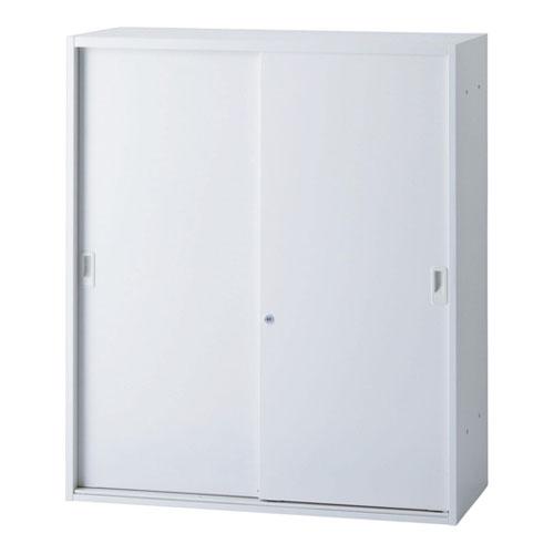【法人限定】 引違い書庫 幅900mm 奥行400mm 高さ1050mm 書棚 本棚 棚板可動 鍵付き 引き戸 スライド扉 ホワイト ファイル キャビネット ICS-0910S