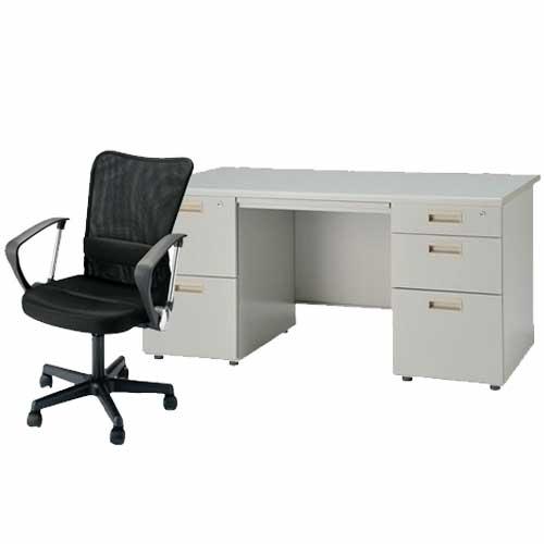 デスク チェアセット 両袖机 W1400mm 幅140cm ワークデスク 事務用 学習机 書斎机 椅子 イス テーブル ニューグレー オフィス家具 IDS-147-2・3SC-4 LOOKIT オフィス家具 インテリア