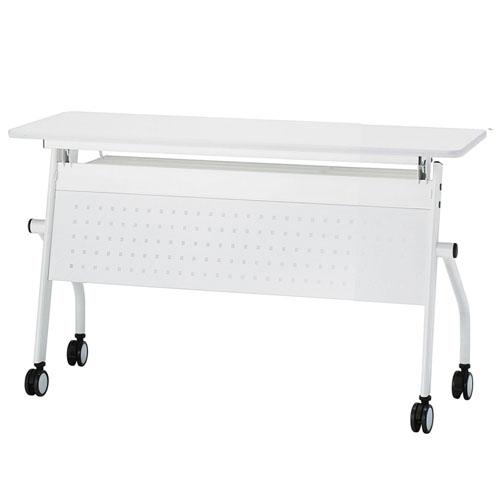 フォールディングテーブル キャスター付 会議机 オフィステーブル 幕板あり 作業机 おしゃれ 平行スタックテーブル 幅1200 PND-1245M