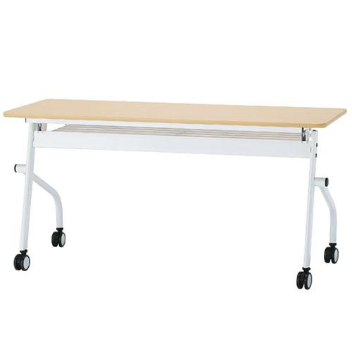 ミーティングテーブル 平机 キャスター付き 棚付き 平行スタックテーブル オフィステーブル ワークテーブル 会議机 幅1500 白 ナチュラル PND-1560