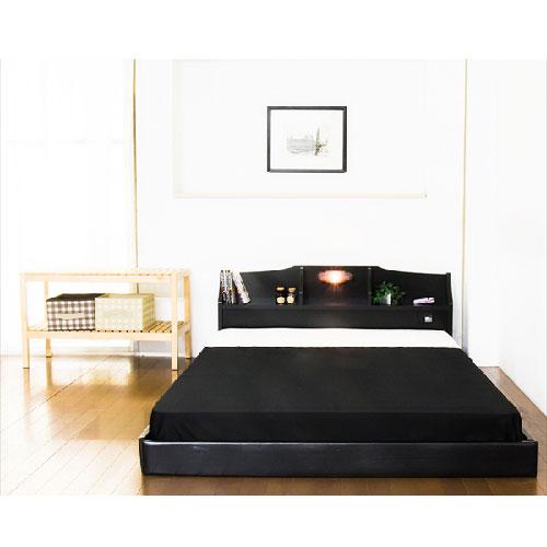 フロアベッド セミダブル 棚 照明付 ベッド マットレス マット付き フレーム 収納 棚付き 宮付き 照明 コンセント ローベッド マットレス付き 320SD ルキット オフィス家具 インテリア