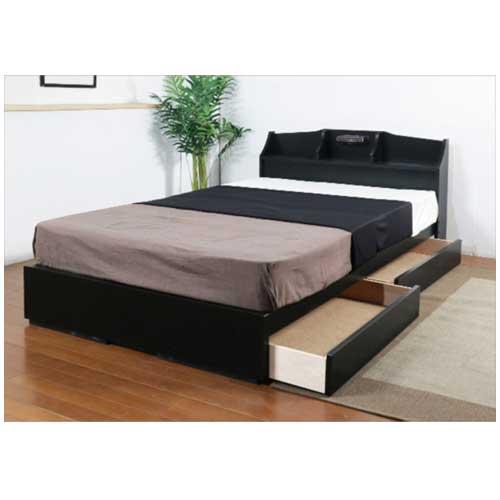 収納ベッド ダブル マットレス付き 収納付きベッド フロアベッド ベッド 宮付き 収納 引き出し おしゃれ モダン ブラック ブラウン ダブルベッド K321D-10874B ルキット オフィス家具 インテリア