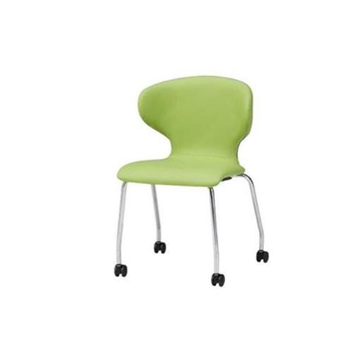 スタッキングチェア キャスター脚タイプ ビニールレザー張り 肘なしチェア ミーティングチェア オフィスチェア オフィス家具 チェア 椅子 事務所 PN-K60L
