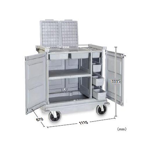 ハウスキーパーワゴン 樹脂製 分別用 DS-572-210-0 LOOKIT オフィス家具 インテリア