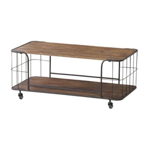 センターテーブル 幅90cm 天然木天板 スチールフレーム 収納付きテーブル ローテーブル リビングテーブル キャスター付き モダン IW-994