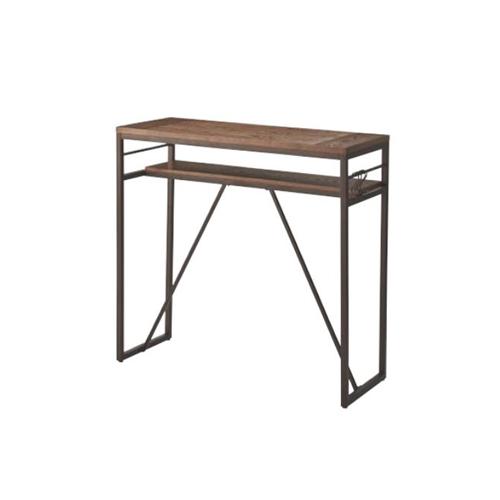 カウンターテーブル ハイテーブル 天然木天板 角型テーブル 棚付きテーブル ナチュラル モダン 北欧 おしゃれ テーブル アイアン脚 PT-782BK