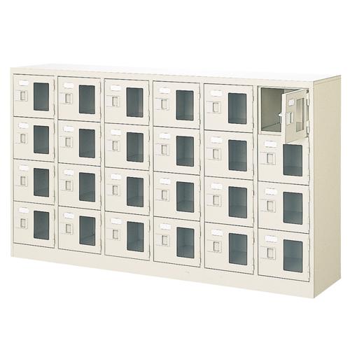 24人用シューズロッカー 6列4段 鍵付 BST6-4WMXK(N) ルキット オフィス家具 インテリア
