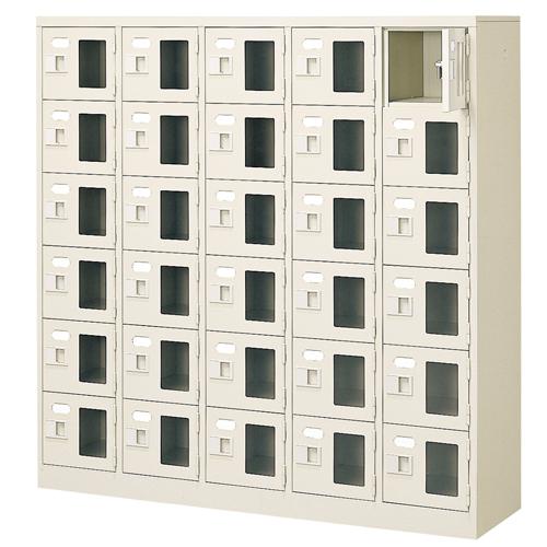 30人用シューズロッカー 5列6段 鍵付 BST5-6WMXK(N) LOOKIT オフィス家具 インテリア