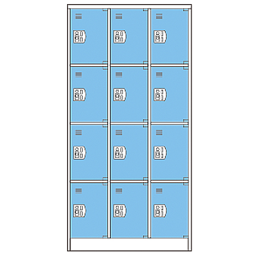 12人用コインロッカー CCR-1234 3列4段 リターン LOOKIT オフィス家具 インテリア
