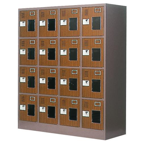 16人用シューズロッカー 4列4段 窓付 WEL-1644MT LOOKIT オフィス家具 インテリア