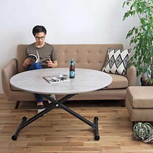 昇降テーブル ダイニングテーブル リフティングテーブル リビングテーブル 机 作業台 おしゃれ 木目 折り畳み 座卓 高さ調節 伸張テーブル ISLE ISLE-T