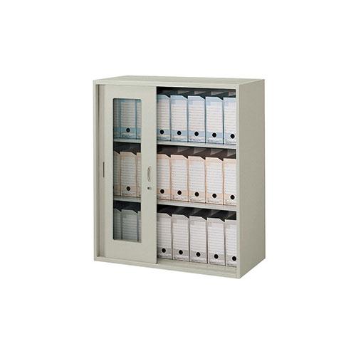 ガラス引き違い書庫 書類 収納 NWS-0911HG3-AW ルキット オフィス家具 インテリア