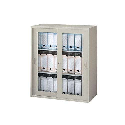 ガラス引き違い書庫 鍵付 ファイル NW-0911HG-AW LOOKIT オフィス家具 インテリア