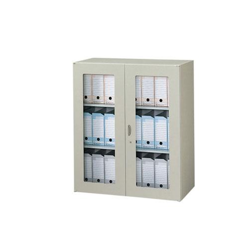 ガラス両開き書庫 鍵付 送料無料 NW-0911KG-AW ルキット オフィス家具 インテリア