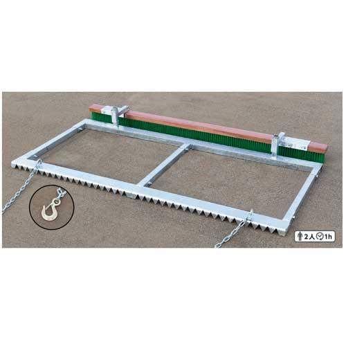 整地板 2枚刃型 グラウンド整備 トンボ 地ならし ブラッシング 部活動 運動場 野球場 スポーツ施設 ブラシ付き 整備 S-0922