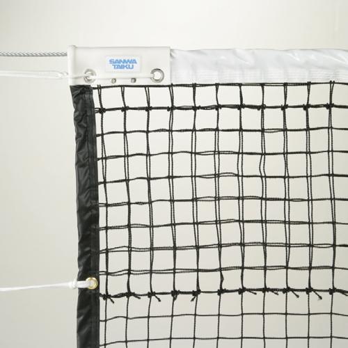 テニスネット 硬式用 屋外 全天候型 日本テニス協会推薦品 黒 無結節 上段ダブル ネット スチールワイヤー センターベルト付き テニスコート 備品 学校 S-2332