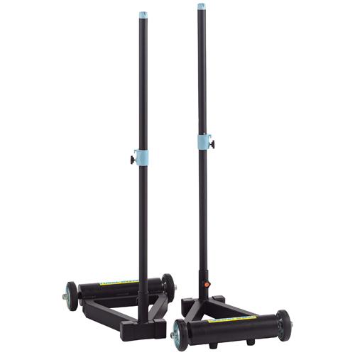 バドミントン支柱 移動式 2本1組 ネット用支柱 タイヤ付き バドミントン スポーツ施設 体育館 運動施設 学校 部活 設備 備品 S-8032