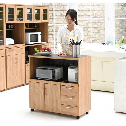 キッチンカウンター キッチンボード 90 幅 コンセント付き レンジ台 キッチン収納 食器棚 カウンター 引き出し 付き キャスター付き 送料無料 FAP-0030-NABK