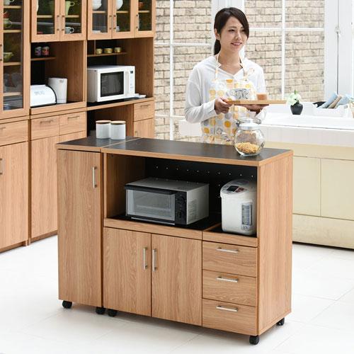 キッチンカウンター キッチンボード 120 幅 コンセント付き レンジ台 キッチン収納 食器棚 カウンター 引き出し 付き キャスター付き 送料無料 FAP-0030SET-NABK
