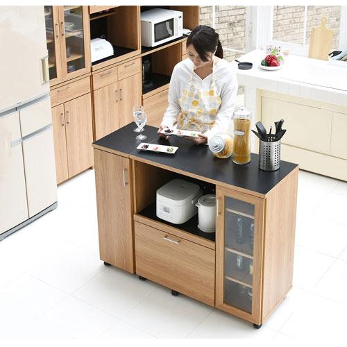 キッチンカウンター キッチンボード 幅120 コンセント付き レンジ台 キッチン収納 食器棚 カウンター キャビネット 付き キャスター付き FAP-1022SET-NABK