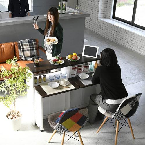 間仕切りキッチンカウンター 幅120 カウンター収納 キッチンボード キッチンカウンター アイランドカウンター バタフライ テーブル 送料無料 FKC-0001