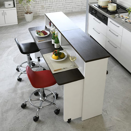 間仕切り 収納 両面収納 幅150 間仕切りキッチンカウンター 150cm幅 収納家具 キッチン収納 食器棚 折り畳み バタフライ テーブル 送料無料 FKC-0002