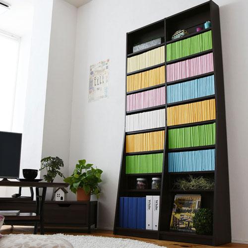 1cmピッチ 文庫本収納ラック 幅90 省スペース スリム 本棚 高さ 180 cm 木製 リビングシェルフ 棚板 かんたん調節 メモリ付き 送料無料 FRM-0009