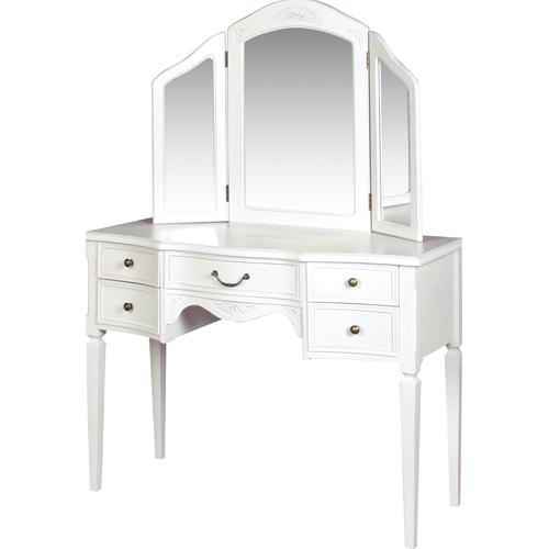 ドレッサー 三面鏡 送料無料 鏡台 化粧台 ドレッサーテーブル クラシック家具 ホワイト シャビー アンティーク風 寝室 高級 おしゃれ BCC-7565