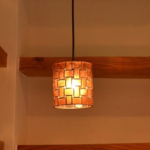 ペンダントライト 1灯 ミニタイプ LED カピス 貝 ハンドメイド ナチュラル おしゃれ ダイニング 寝室 シーリングライト ライト ランプ 照明 送料無料 LC10785