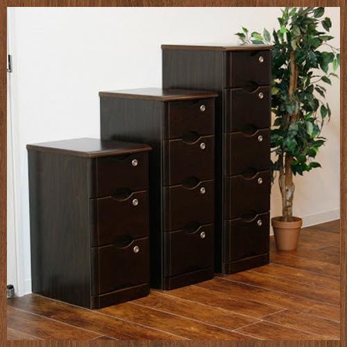 送料無料 チェスト 5段 タモ材 幅32cm 木製 収納 タンス 鍵付き ブラウン 40-0865 ルキット オフィス家具 インテリア