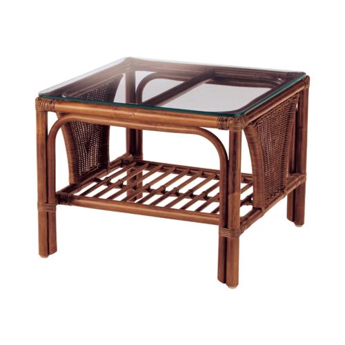 サイドテーブル 籐製テーブル コンパクト ローテーブル 角テーブル ガラス天板 幅550mm テーブル NO-600SD