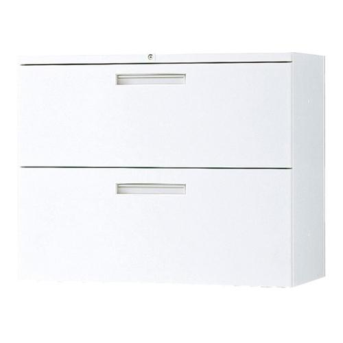 ラテラル2段 奥行40cm オフィス収納 引き出し収納 鍵付き書庫 ファイル収納庫 収納家具 事務所 学校 病院 オフィス TF-L2-07-8040-OW