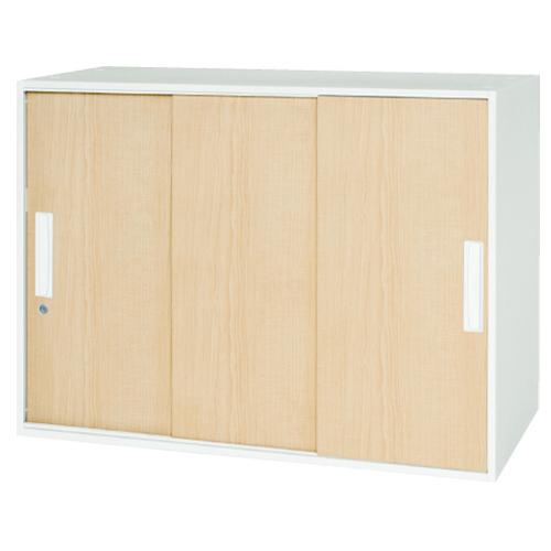 3枚引戸書庫 高さ50cm オフィス収納 木目調 おしゃれ 書類収納 収納ユニット 壁面収納 事務所 オフィス 会社 収納 保管庫 V945-07MTS