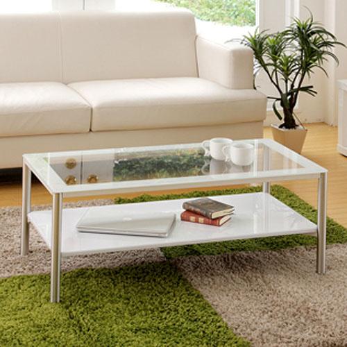 センターテーブル ガラス 棚付き シンプル モダン シック カフェ テーブル 机 リビング ローテーブル リビングテーブル コーヒーテーブル 送料無料 GLT-22919