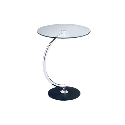 サイドテーブル クリアガラス ガラステーブル 机 スタイリッシュ おしゃれ リビング 丸型テーブル 送料無料 LLT-8514