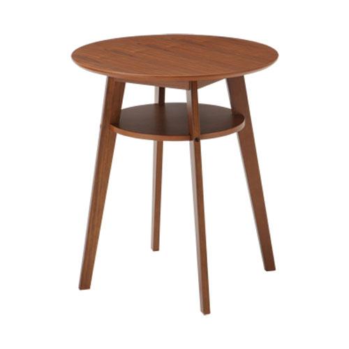 カフェテーブル 木製 棚付き ウォルナット 天然木 カフェ レストラン ダイニング リビング テーブル コーヒーテーブル サイドテーブル 送料無料 SST-990