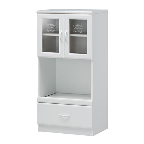キッチンキャビネット 食器棚 カップボード コンセント スライド棚 棚付き 配線口 開き戸 北欧 かわいい キッチン ボード 収納 ガラス 戸棚 送料無料 CEC-1255SL