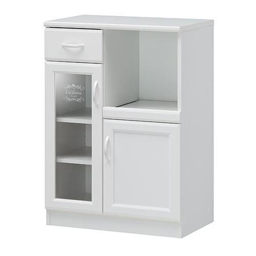 キッチンキャビネット 食器棚 カップボード コンセント スライド棚 棚付き 配線口 開き戸 北欧 かわいい キッチン ボード 収納 ガラス 戸棚 送料無料 CEC-9065SL