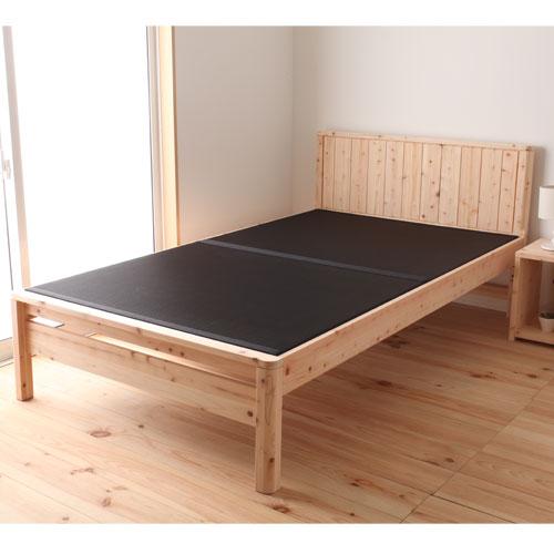 ★送料無料★ 畳ベッド ダブル 日本製 ヒノキ モダン和風ベッド い草ベッド 黒タタミベッド たたみベッド 和室 高さ調節 調湿 天然素材 炭入り DCB258BK-D