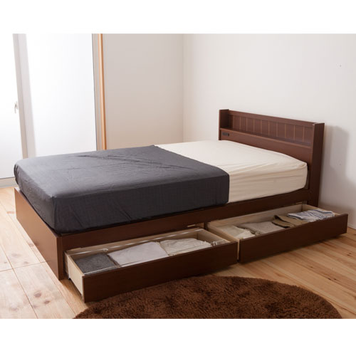 送料無料 収納ベッド セミダブル ロング 日本製 ブラウン ベッドフレーム 木製ベッド 引出し収納付き 寝具 ベッド おしゃれ FMB81-BR-L-SD ルキット オフィス家具 インテリア