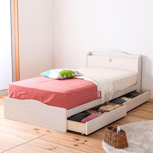 シングルベッド 日本製 引き出し 収納 レギュラー ベッド フレーム ワンルーム カントリー かわいい 収納ベッド ナチュラル 木製 ローベッド 送料無料 FMB82-S