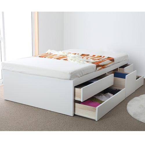 送料無料 収納ベッド セミシングル 三つ折りポケットコイルマットレス付き 収納チェストベッド 引出し付ベッド 衣類収納 長物収納庫 HMB53-SS-XM24